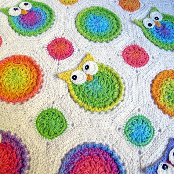 Free Crochet Pattern For Owl Afghan : Crochet Owl Baby Blanket-Afghan on Luulla